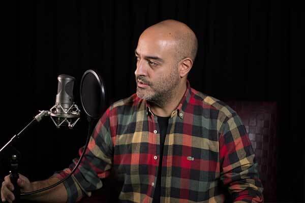 Turkish male voice-over talent in studio.