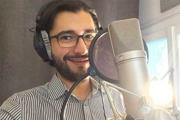 Mexican male voice-over talent in home studio.