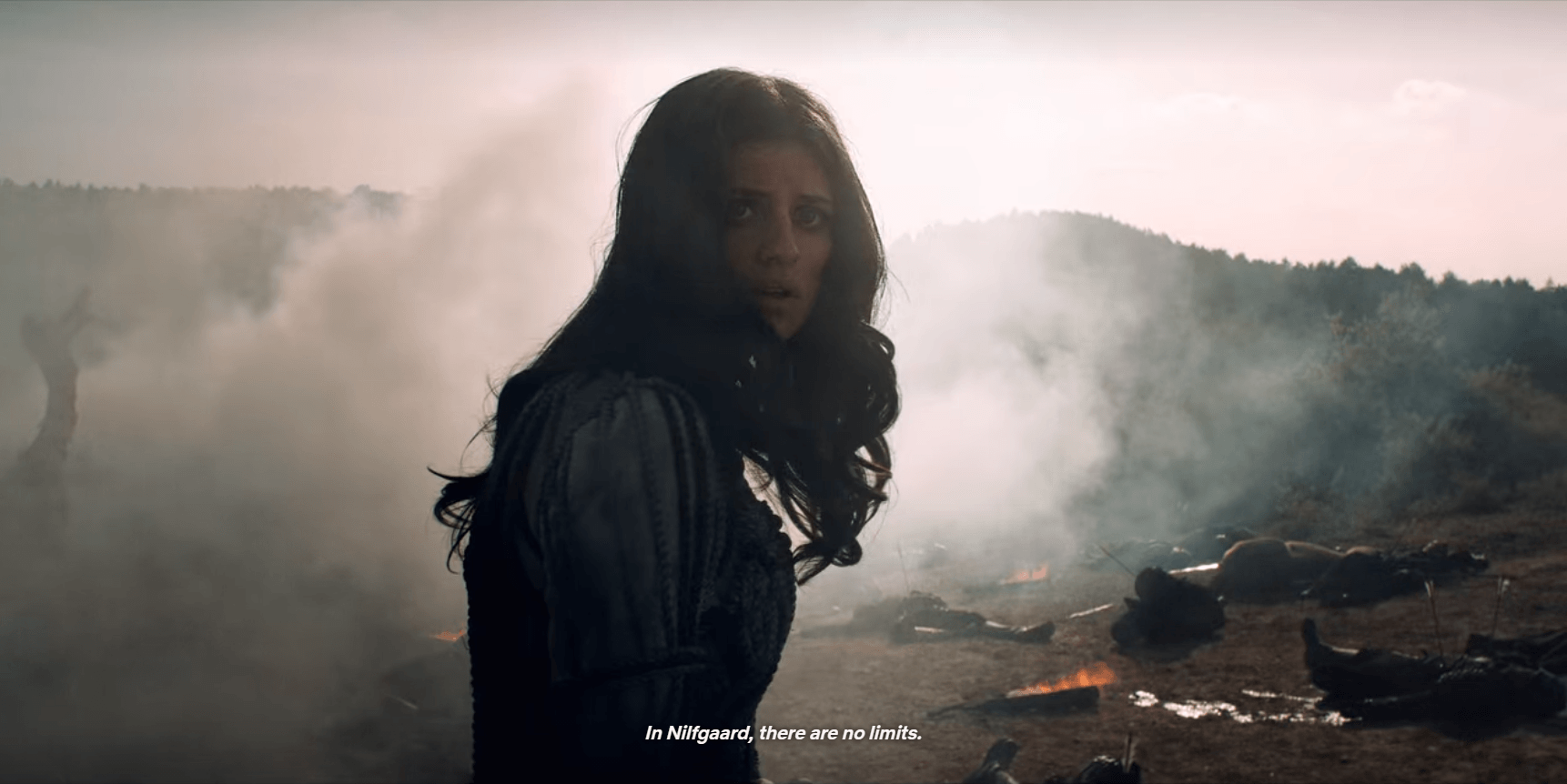 Image of The Witcher with closed captions.