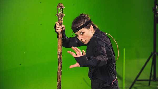 Voice Actors doing Mocap for a video game. Casting a spell.